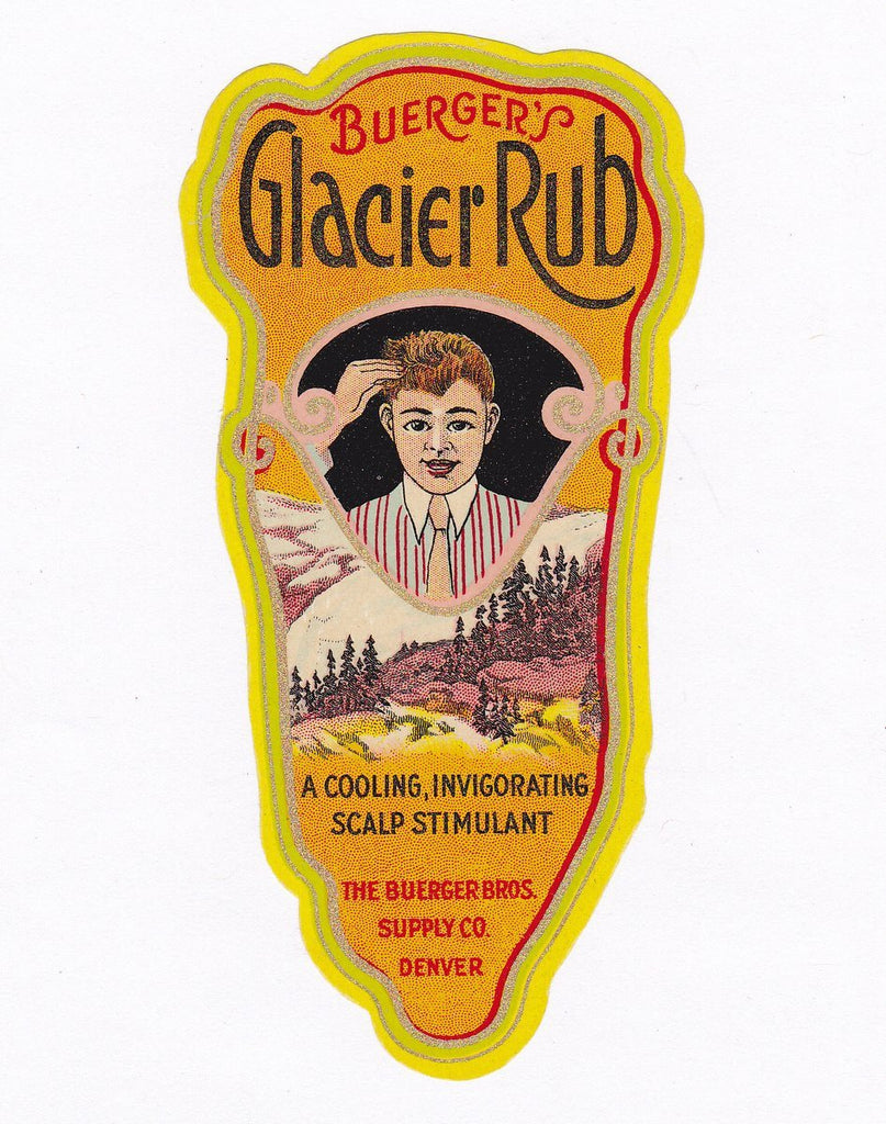 Buerger's Glacier Rub- 1920s Antique Label- Buerger Bros Co- Scalp Stimulant- Art Deco Lithograph- Denver, Colorado- Paper Ephemera- Unused