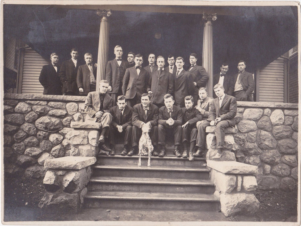 Cold-Spot the Ghost Dog- 1920s Antique Photograph- Men's Fraternity House Mascot- Dalmatian Dog- Group Portrait- Found Photo- Paper Ephemera