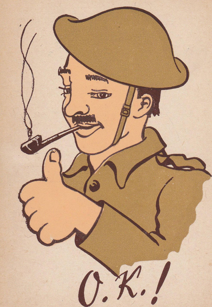 O.K. Doughboy- 1910s Antique Postcard- WWI Soldier- Art Comic- Thumbs Up- Smoking Pipe- All Correct- First World War- Unused