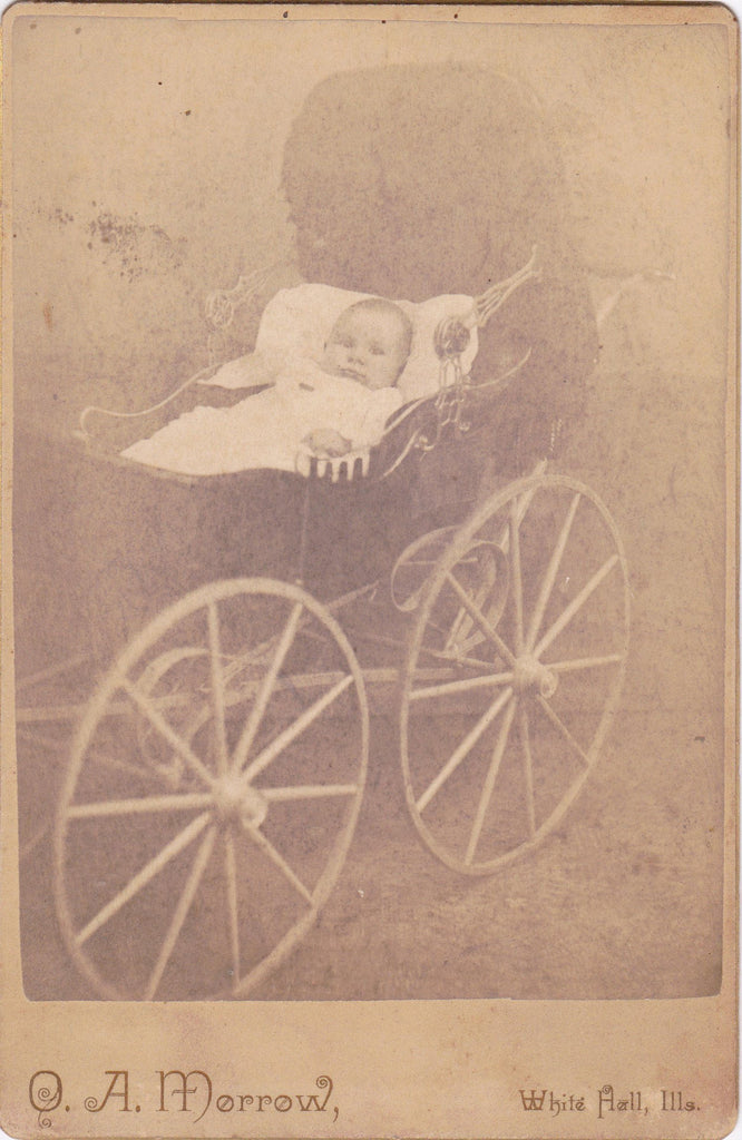 Victorian Baby Carriage- 1800s Antique Photograph- O A Morrow- White Hall, IL- Cabinet Photo- 19th Century- Paper Ephemera