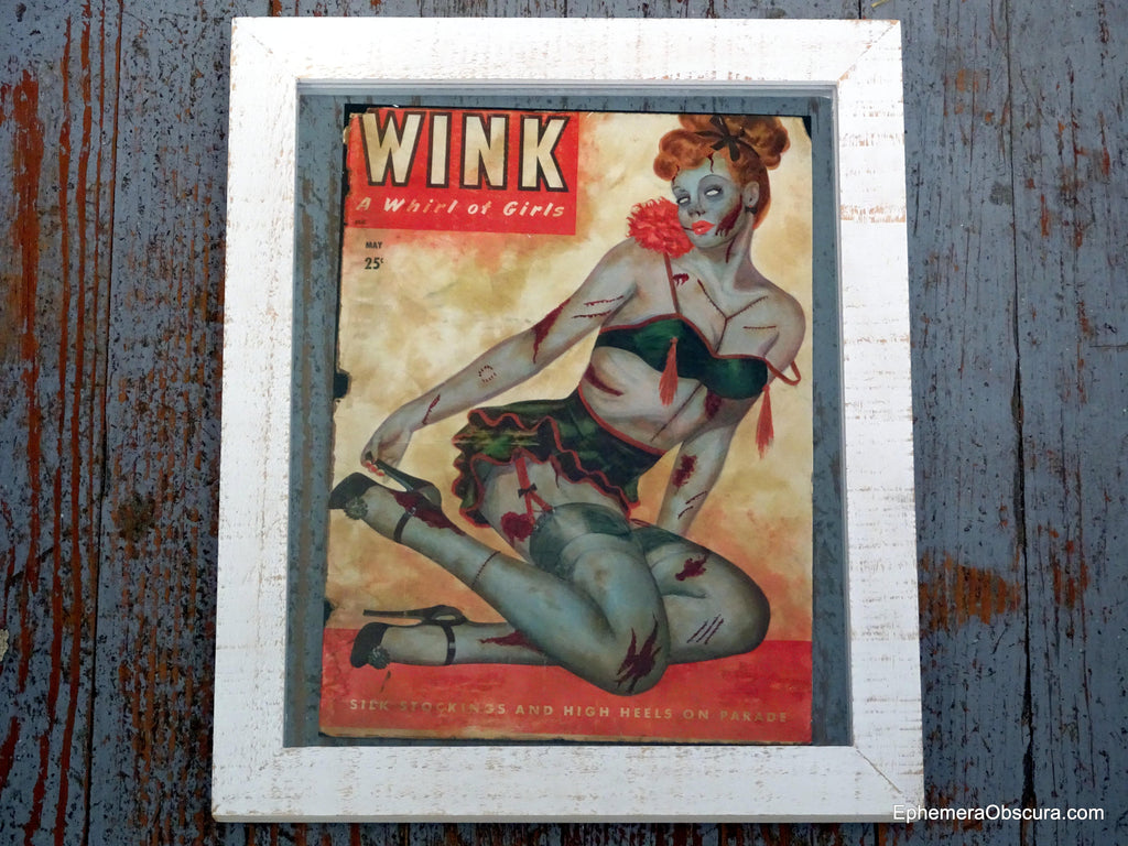 Beauty and Braaains- Zombie Pin Up- Altered Wink Magazine- Original Art Giclee Print- Retro Horror- Rockabilly- Halloween Decor