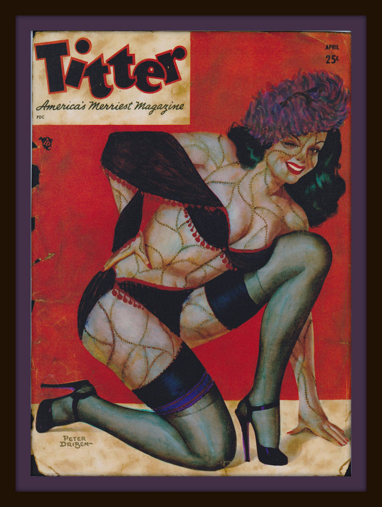 Zombie Pin Up Art - Altered Vintage Titter Magazine Cover Giclee Print