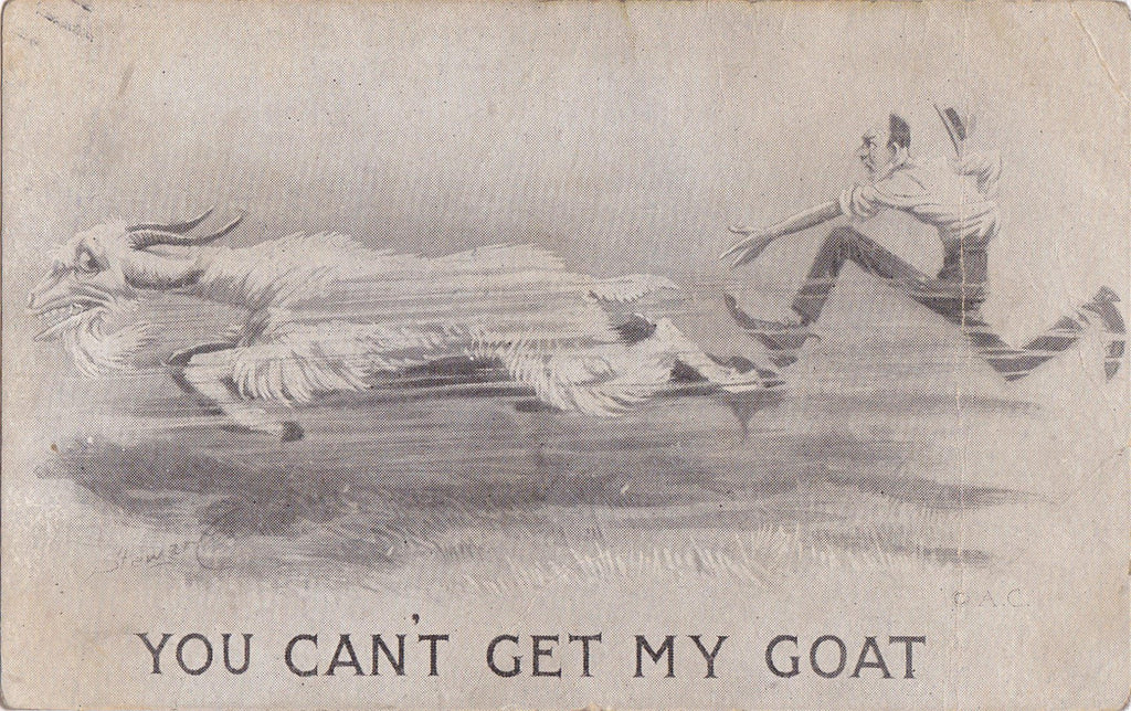 You Can't Get My Goat- 1910s Antique Postcard- Art Comic- Goat Series- Artist Signed Stewart- Billy Goat- Edwardian- H. J. B.- Used