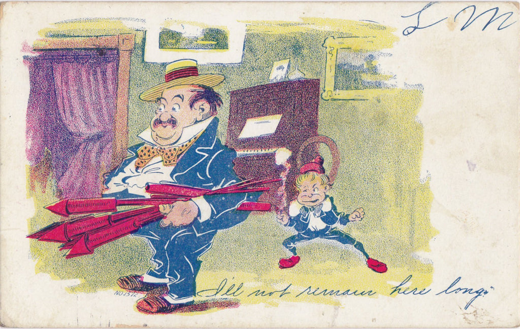 I'll Not Remain Here Long- 1900s Antique Postcard- Fireworks- Remington Supply Co- Edwardian Art Comic- Used