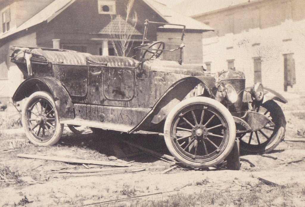 The Old Jalopy- 1910s Antique Photograph- Beat Up Old Car- Edwardian Automobile- Found Photo- AZO RPPC- Real Photo Postcard