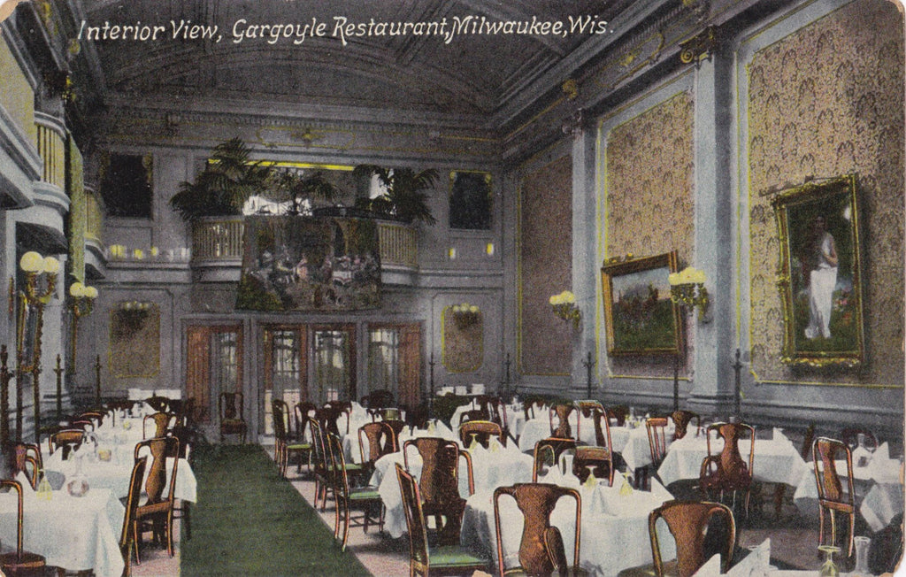 Gargoyle Restaurant- 1900s Antique Postcard- Interior View- Milwaukee, Wisconsin- Jno T Faber- Memorabilia- Souvenir- Unused