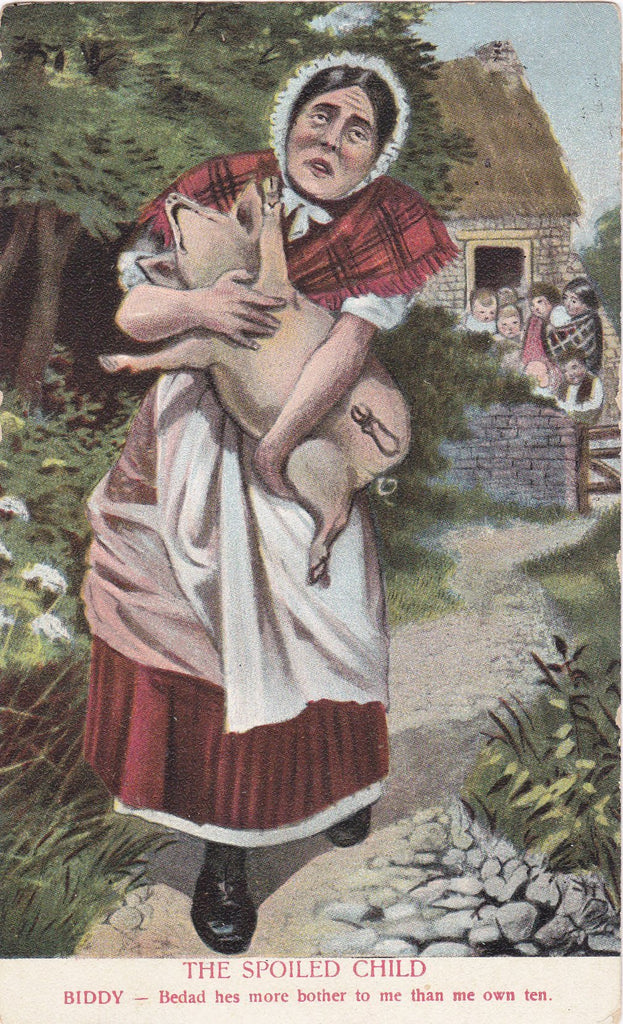 The Spoiled Child- 1910s Antique Postcard- Piglet- Pig Farmer's Wife- Temper Tantrum- Edwardian Art Comic- Owens Bros Co- Used