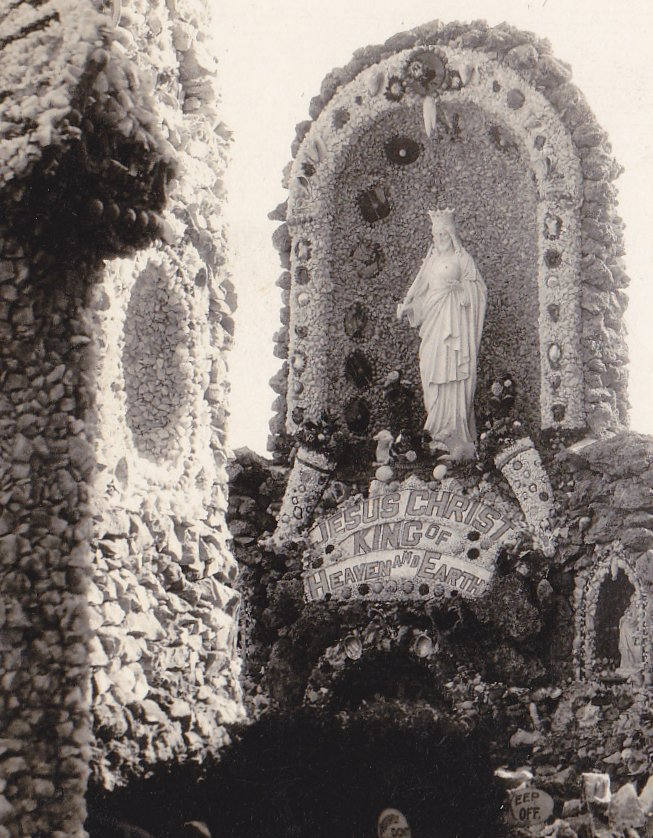 Christ the King- 1930s Vintage Photograph- Dickeyville Grotto- Wisconsin History- Cemetery Shrine- Real Photo Postcard- RPPC
