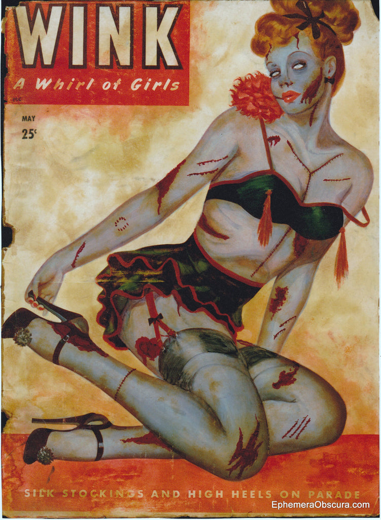 Zombie Pin Up Art - Altered Vintage Wink Magazine Cover Giclee Print