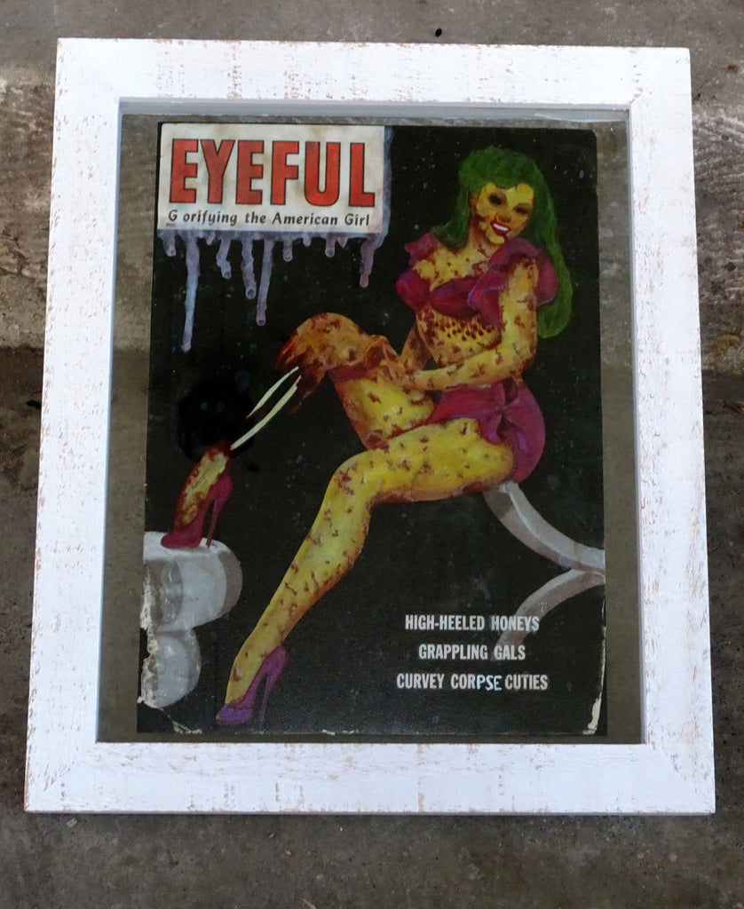 Eyeless Iris- Zombie Pin Up- Altered Magazine- Eyeful- Gorifying- Corpse Cuties- Original Art Giclee Print- Retro Horror- Halloween Decor