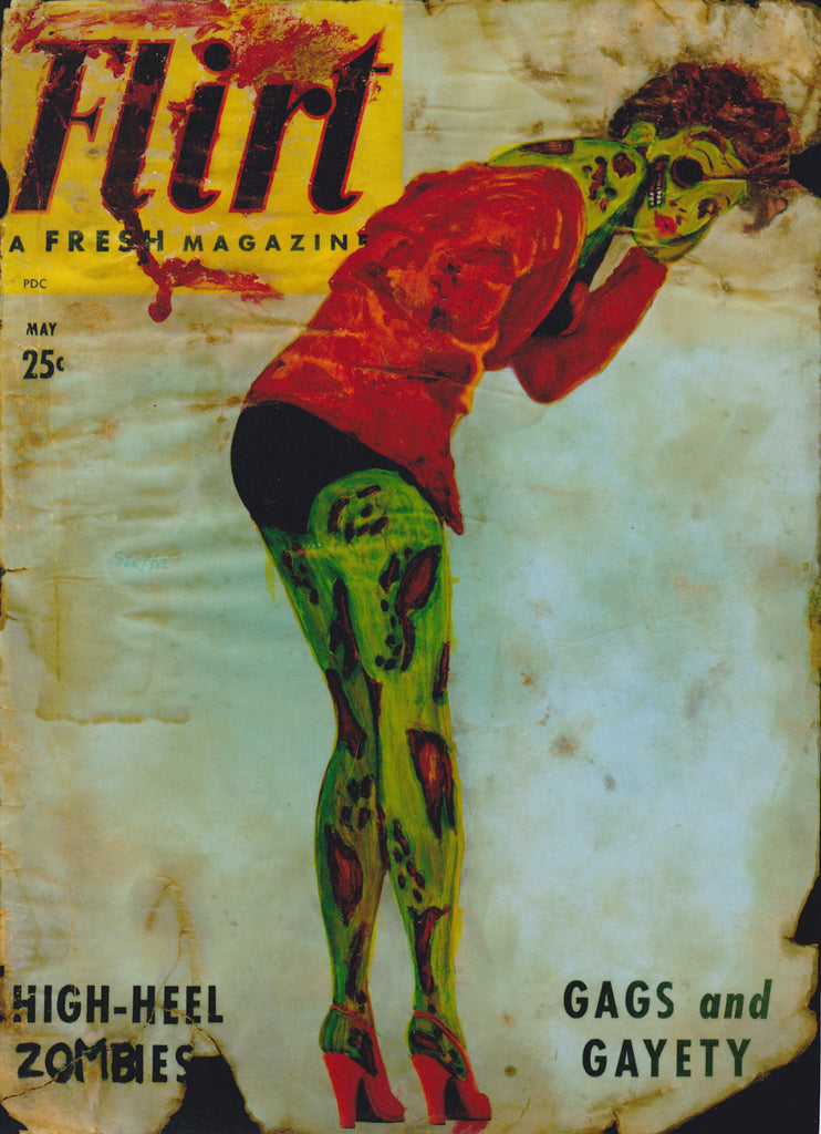High-Heel Zombies Zombie Pin Up Art - Altered Vintage Flirt Magazine Cover Giclee Print