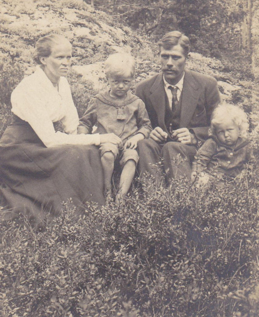 The Grim Family- 1910s Antique Photograph- Creepy Children- Nightmare Fuel- RPPC- Real Photo Postcard- Found Photo