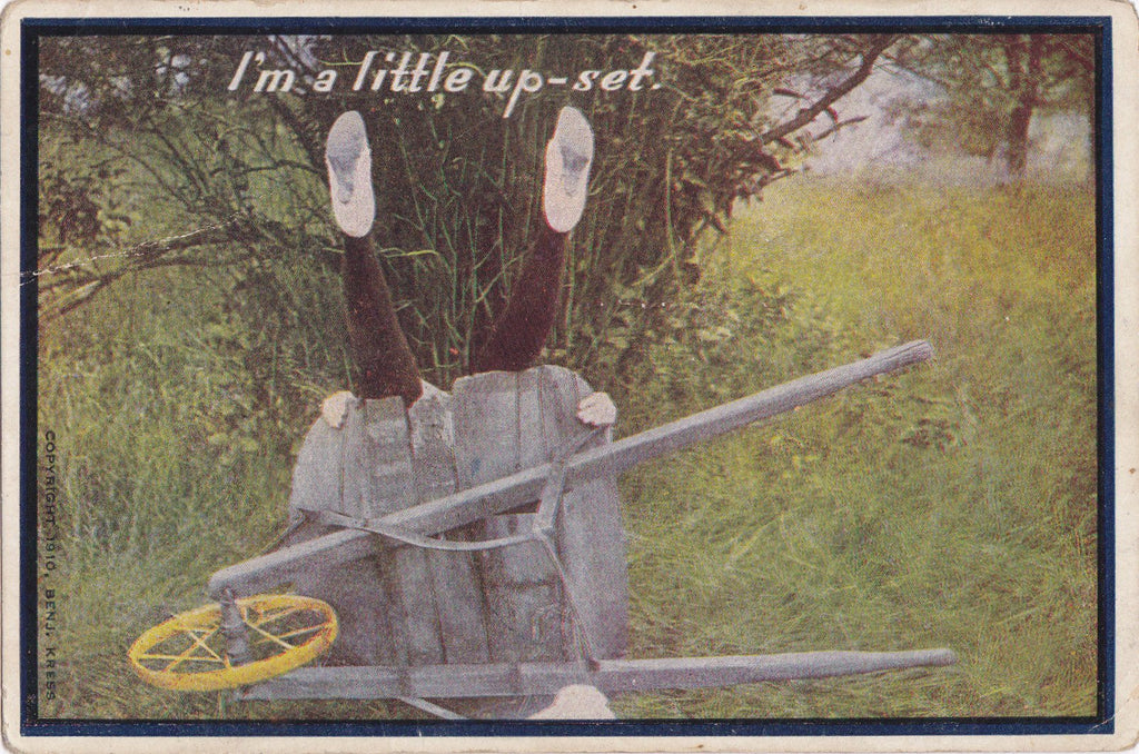 I'm A Little Upset- 1910s Antique Postcard- Edwardian Humor- Benjamin Kress- Garden Wheelbarrow- Visual Pun- Used