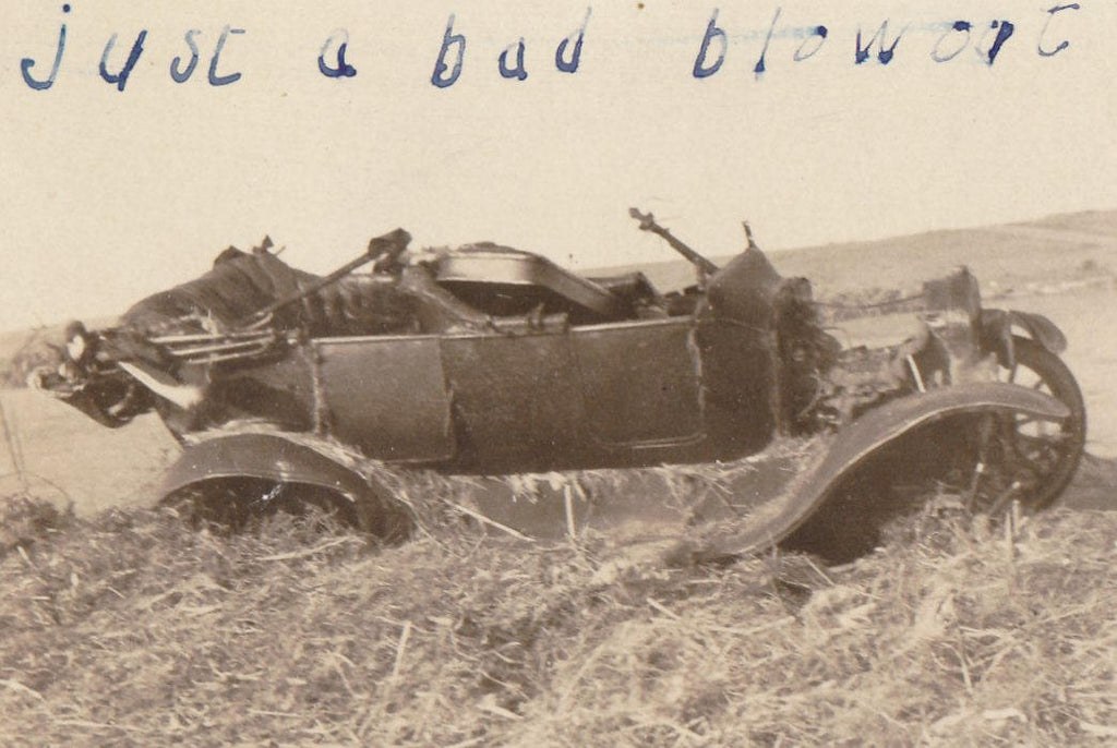 Just a Bad Blowout- 1910s Antique Photograph- Edwardian Car Accident- Automobile Wreck- Found Photo- AZO RPPC Real Photo Postcard