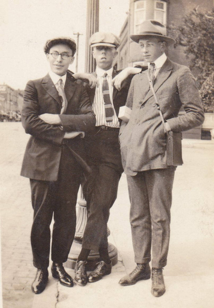 How're These For Dandies- 1910s Antique Photograph- Edwardian Men- Dandy Fashion- Found Photo-  RPPC- Real Photo Postcard- Paper Ephemera