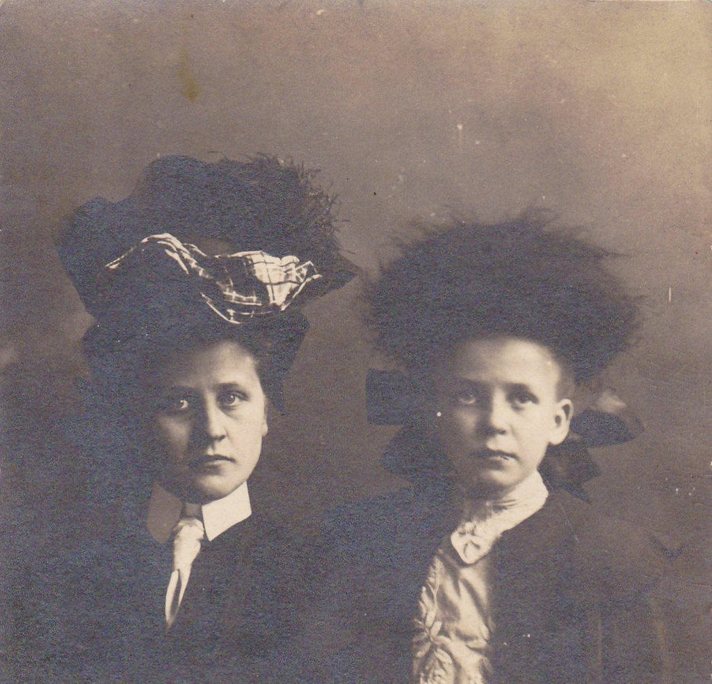 Little Ladies- 1900s Antique Photograph- Edwardian Fashion- Girls in Hats- Sisters- Found Photo- RPPC- Undivided Back- Real Photo Postcard