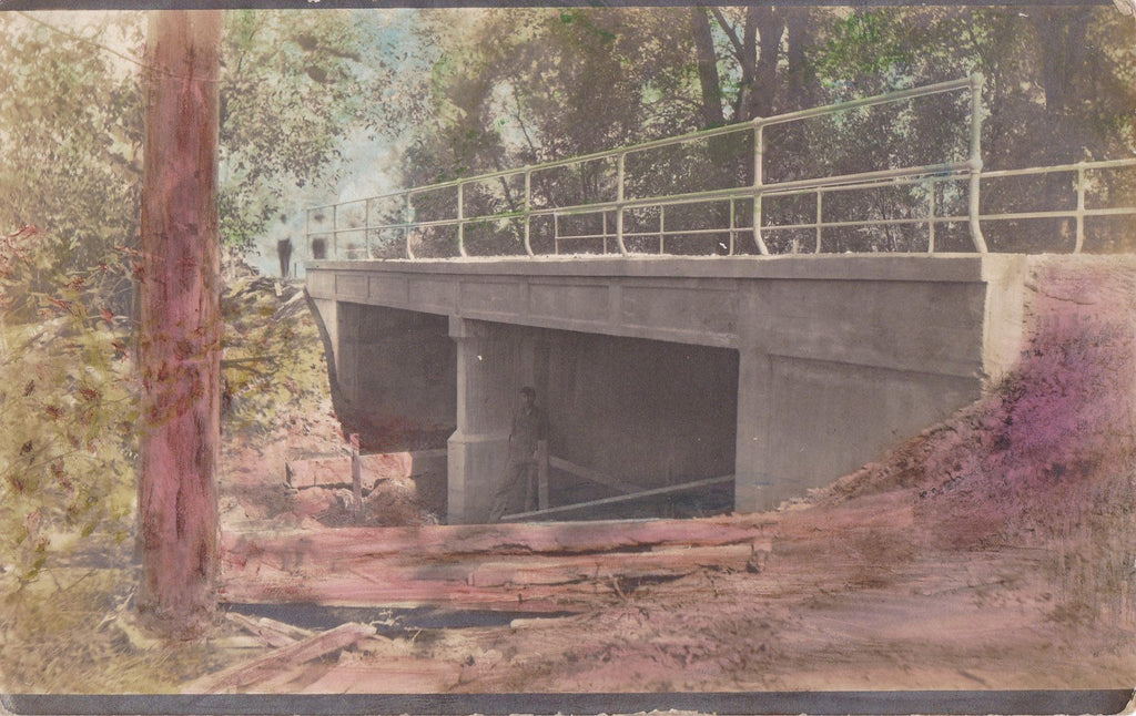 The Haunted Bridge- 1910s Antique Photograph- Concrete Bridge- Found Photo- Hand Tinted- Vernacular- Real Photo Postcard- AZO RPPC