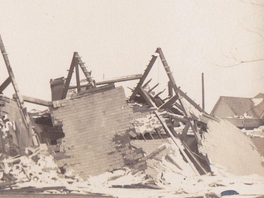 Church in Ruins at 20th and Lathrope- 1910s Antique Photograph- Natural Disaster- Tornado Aftermath- AZO RPPC- Real Photo Postcard- Found Photo