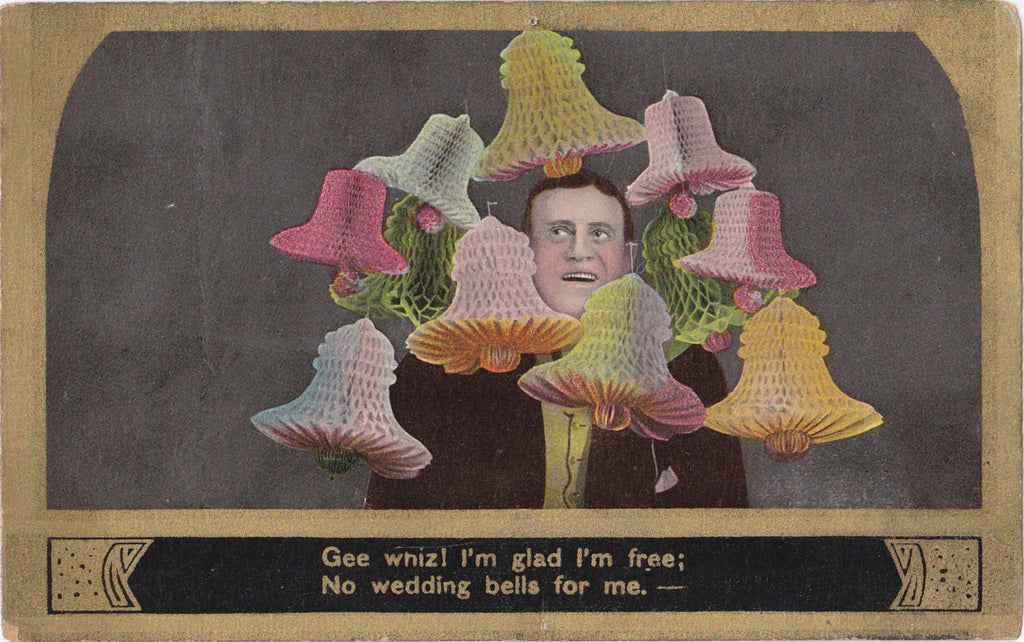 No Wedding Bells For Me- 1900s Antique Postcards- SET of 4- Edwardian Bachelor- Illustrated Song- Theodor Eismann- Art Comic- Used