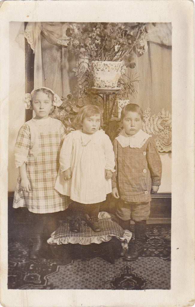 Hold Your Breath- 1900s Antique Photograph- Edwardian Children- Found Photo- Indoor Portrait- Real Photo Postcard- RPPC- Paper Ephemera