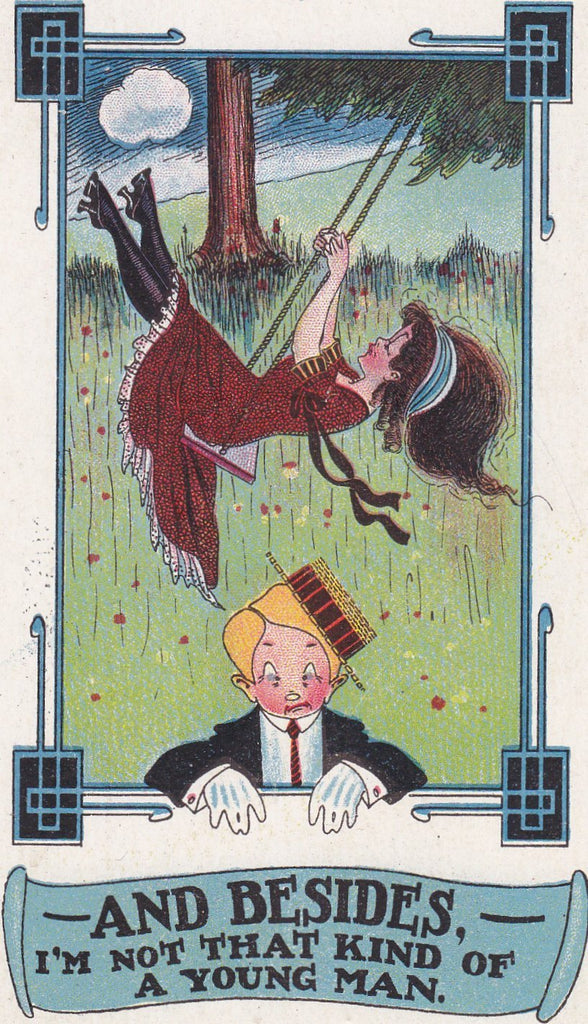 Don't Swing That Way- 1900s Antique Postcard- Not That Kind of Man- Edwardian Dandy- Humor Art Comic- Carmichael- Used