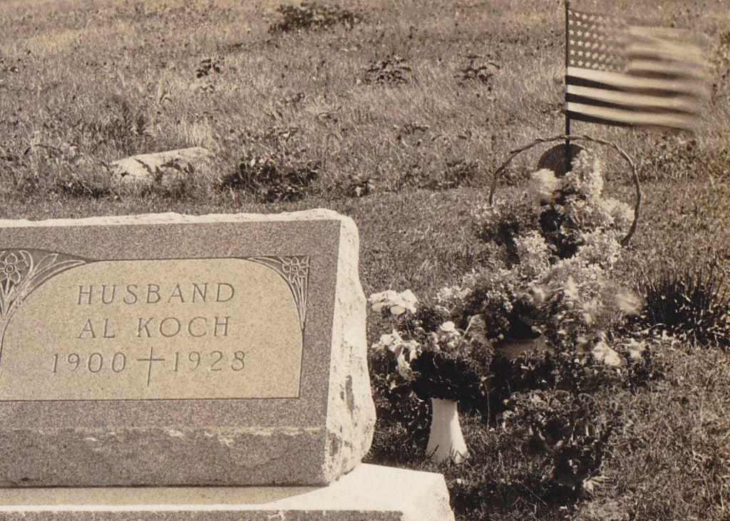 Here Lies Al and Vera Koch- 1920s Antique Photograph- Husband and Wife- Gravestone- Cemetery Photo- Headstone- Memorial Day- Real Photo Postcard- AZO RPPC
