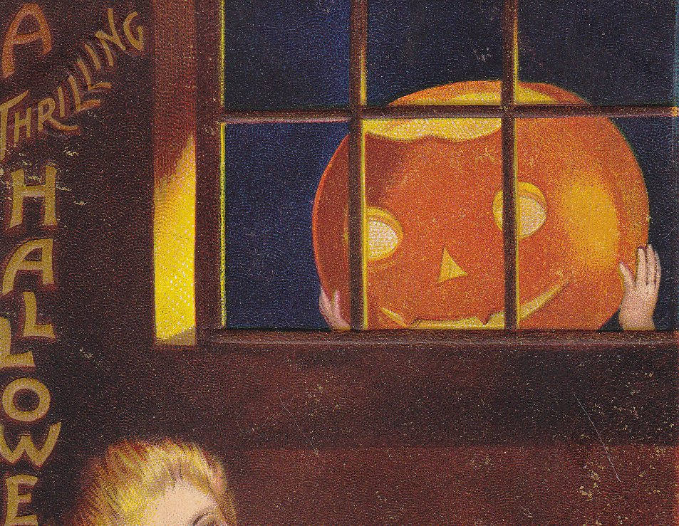 Thrilling Halloween- 1900s Antique Postcard- Ye Ghost Stories- Jack-o-lantern- Candlelight- Pumpkin Haunting- Ellen Clapsaddle- Unused