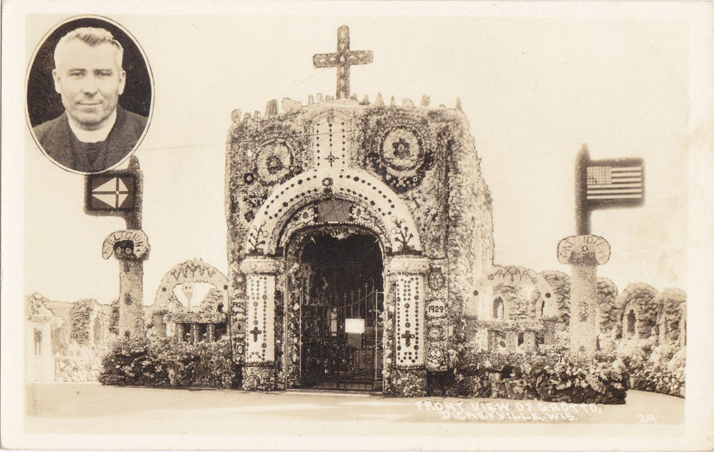 Dickeyville Grotto- 1930s Vintage Photographs- SET of 3- Father Mathias Wenerus- Holy Ghost Park- Wisconsin Cemetery- RPPC- Real Photo Postcard