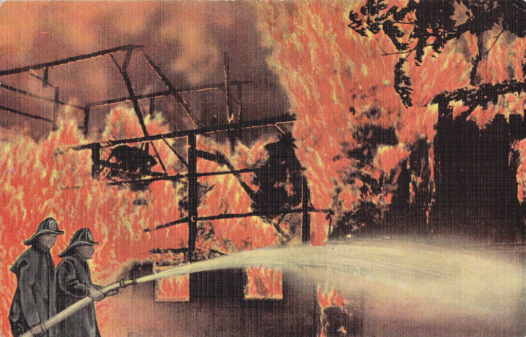 Firefighters- 1940s Vintage Postcard- Burning Building- Fire Disaster- Firemen- Occupational- E C Kropp- Unused