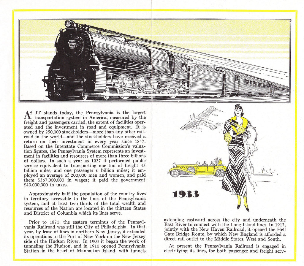 100 Years of Progress in Modern Railroading- 1930s Vintage Pamphlet- Pennsylvania Railroad- 1933 Century of Progress Exposition Chicago