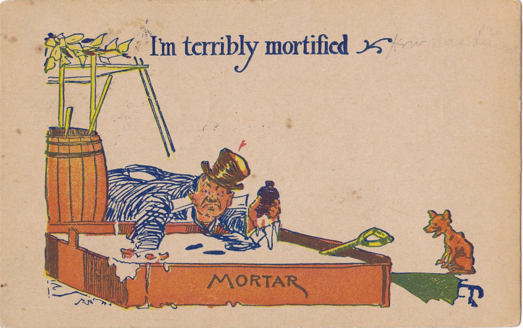 I'm Terribly Mortified- 1900s Antique Postcard- Bricklayer- Brick Mortar- Masonry- Edwardian Humor- Art Comic- Used