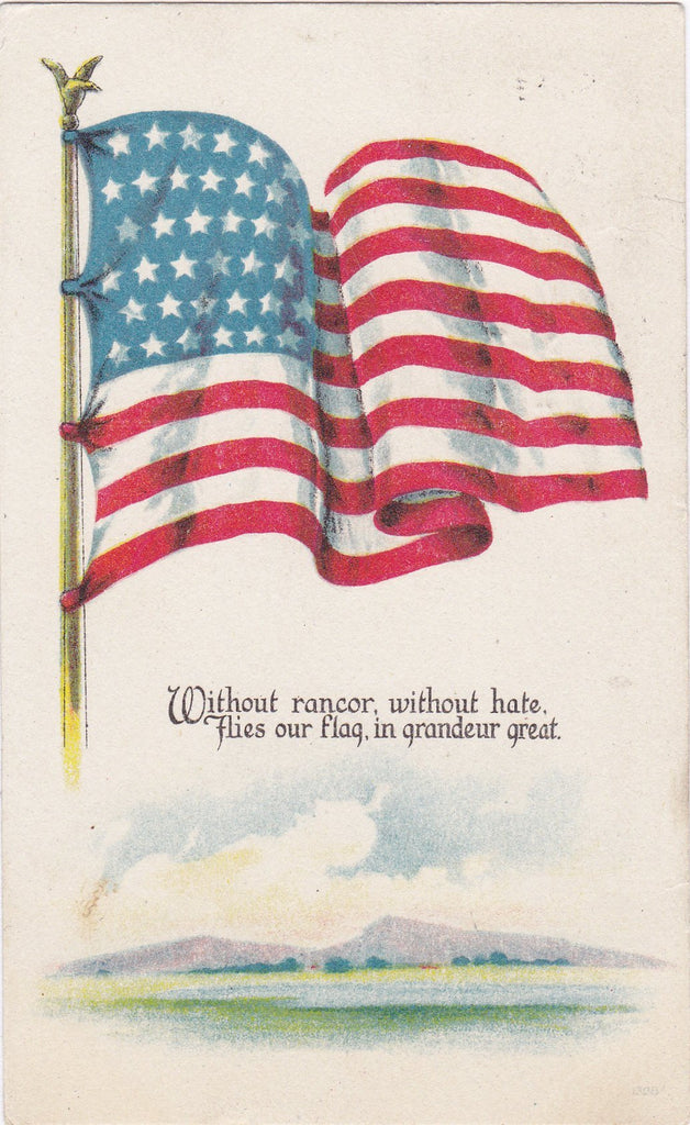 Without Rancor, Without Hate- 1910s Antique Postcard- American Flag- America the Great- WWI Patriotic- Red White and Blue- Illustrated Postal Card Co.