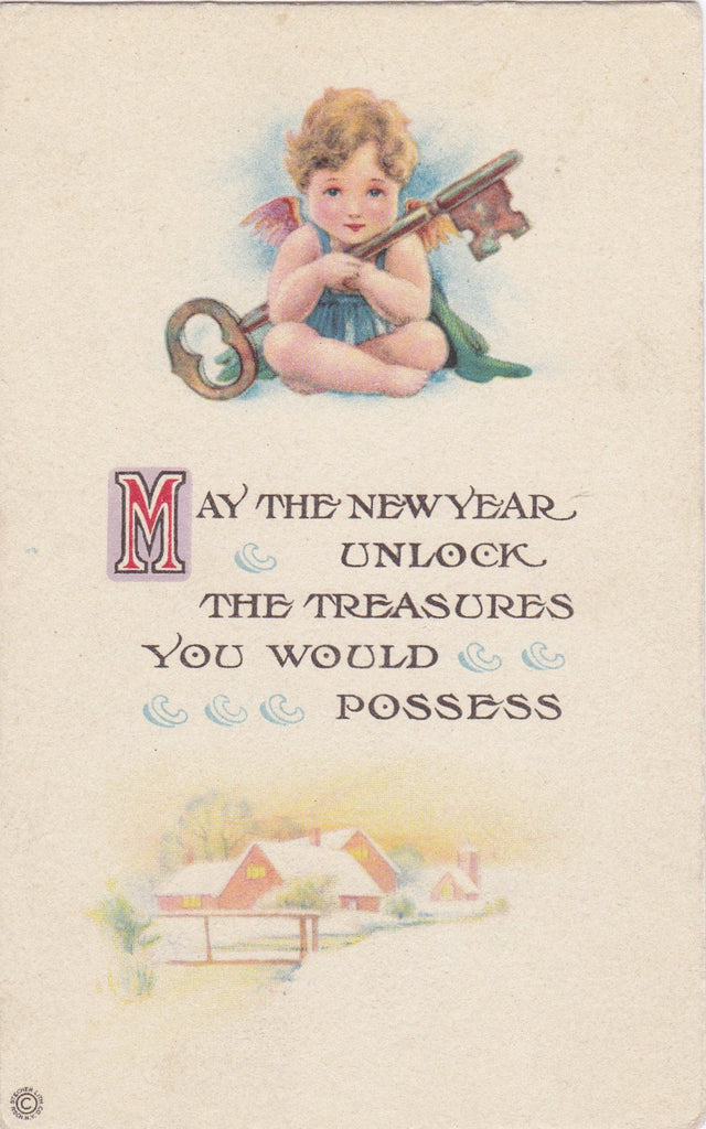 Unlock the Treasures You Would Possess- 1920s Antique Postcard- New Year- Skeleton Key- Cherub Angel- Stecher Lith. Co- Used