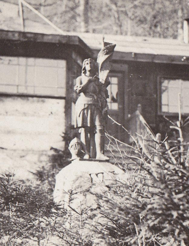 Joan of Arc Statue- 1900s Antique Photograph- Vieville, France- Found Photo- Real Photo Postcard- CYKO RPPC