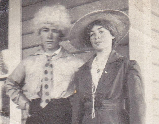 Ladies and Gents- 1910s Antique Photograph- Cross-dressing Edwardian Men in Drag- Found Photo- Man in Shirtwaist Dress- Vernacular Snapshot