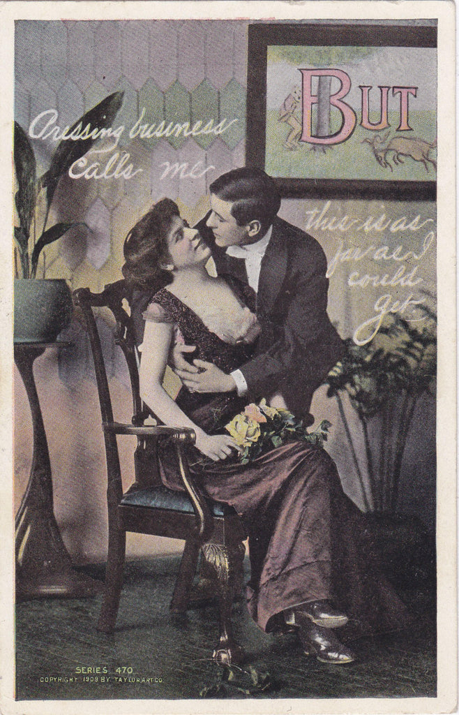 Pressing Business- 1900s Antique Postcard- Edwardian Risque- Taylor Art Co- Romance Art Comic- Used