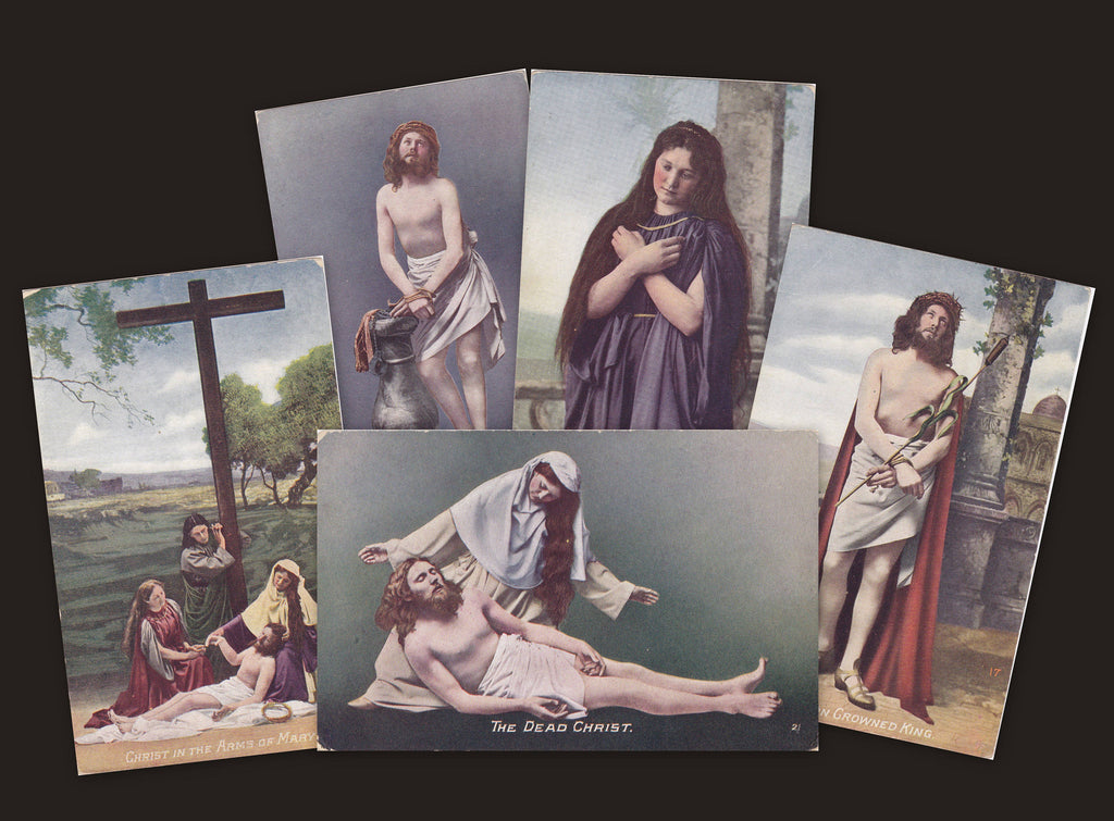 The Dead Christ- 1900s Antique Postcards- SET of 5- Jesus and Mary Magdalene- Religious Art- Passion Play- Crown of Thorns- Unused