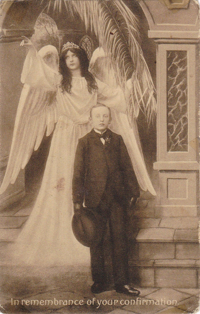 In Remembrance of Your Confirmation- 1900s Antique Postcard- Guardian Angel Wings- Palm Frond- Catholic Ceremony