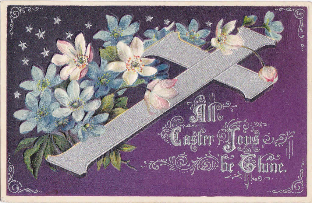 Easter Joys Be Thine- 1910s Antique Postcards- SET of 2- Easter Cross Flowers- Crown Of Thorns- Butterfly- Edwardian Floral- Embossed- Used