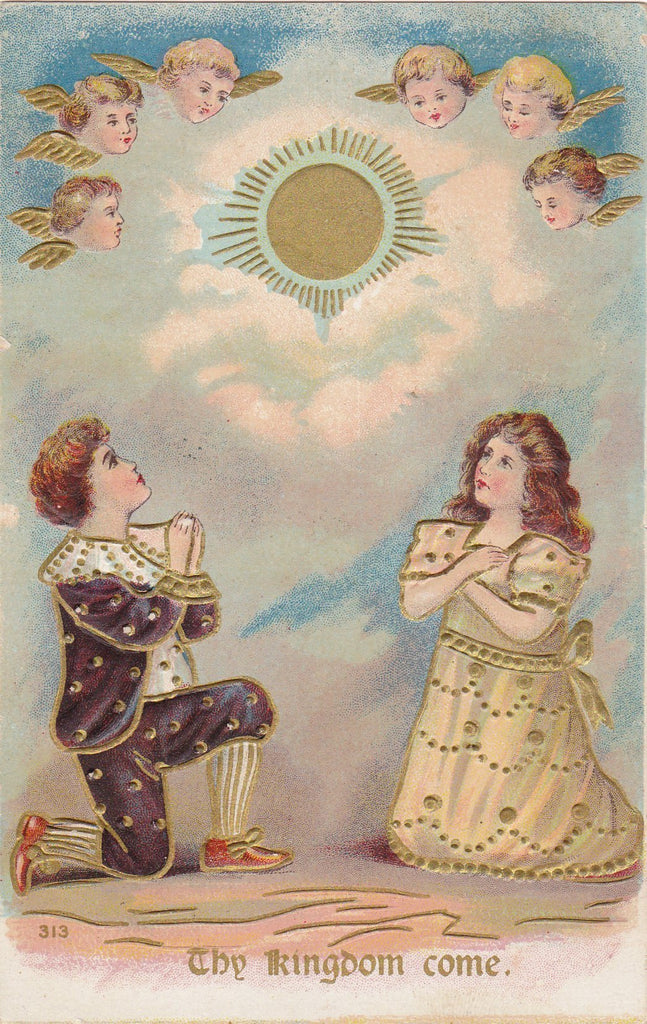 Thy Kingdom Come- 1900s Antique Postcard- The Lord's Prayer- Edwardian Children- Cherub Angels- Religious Art- Used