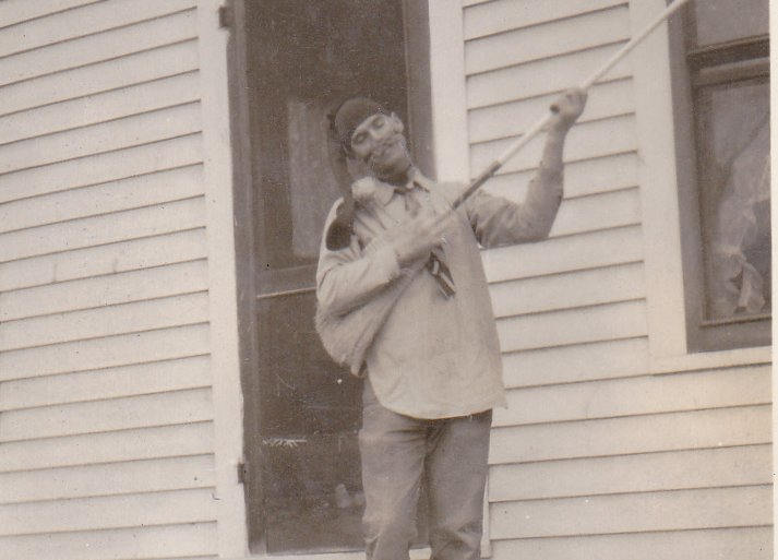 Broom Banjo- 1920s Antique Photograph- Stocking on Head- Found Photo- Funny Snapshot- Weird Man- Vernacular- Paper Ephemera