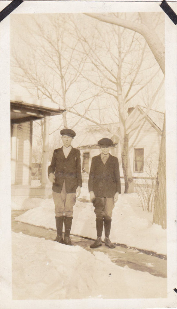 Boyscout Salute- 1920s Antique Photographs- SET of 2- Silly and Serious Brothers Snapshots- Found Photos- Winter Snow- Vernacular- Ephemera