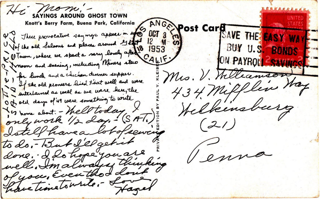 Sayings in Ghost Town- 1950s Vintage Postcard- Knott's Berry Farm, Buena Park, California- Souvenir- Paper Ephemea- Used