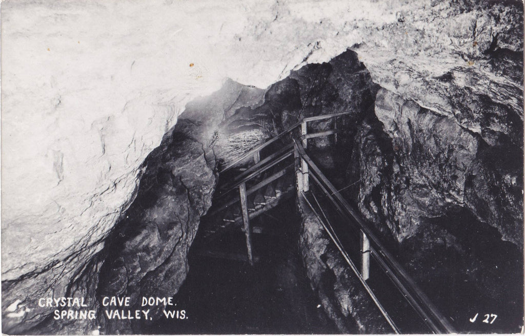 Crystal Cave Dome- 1950s Vintage Photograph- Spring Valley, Wisconsin- L L Cook- Real Photo Postcard- RPPC- Paper Ephemera