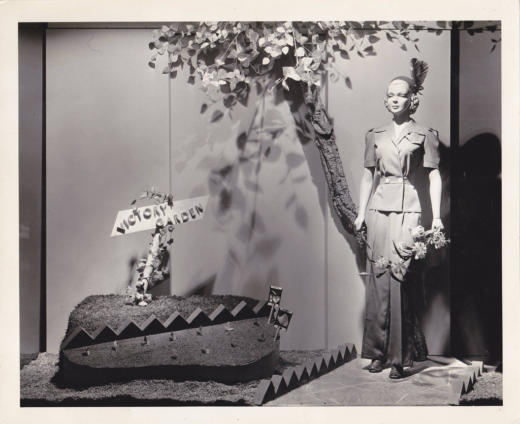 Victory Garden 1942- 1940s Vintage Photograph- WWII Window Display- Mannequin- Surreal Art- Found Photo- Vernacular- Paper Ephemera