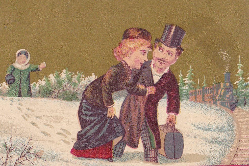Seasons of Romance- 1800s Antique Trade Cards- SET of 2- Spring and Winter- A B Frenzel 1881- Victorian Humor- Lithograph- Paper Ephemera