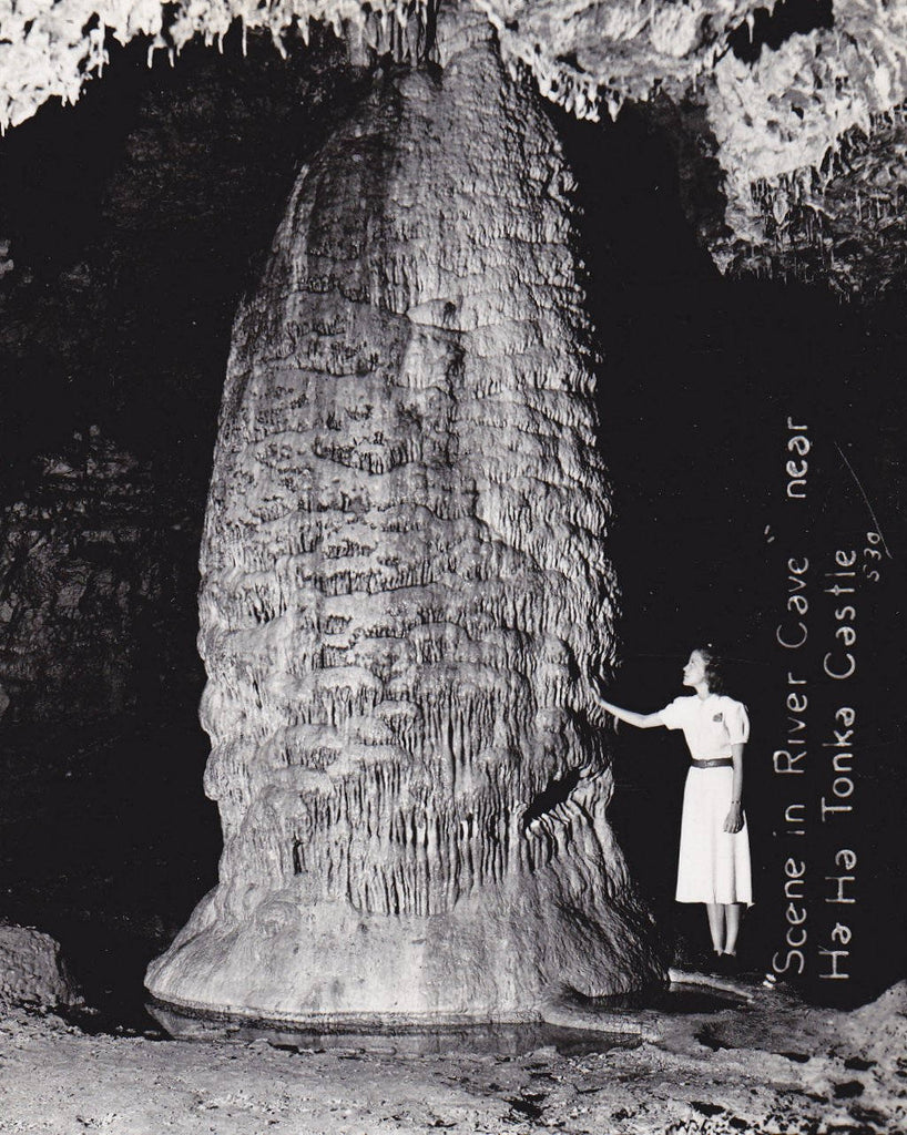 River Cave Stalagmite- 1950s Vintage Photograph- Ha Ha Tonka State Park- Rock Formation- Real Photo Postcard- RPPC- Paper Ephemera