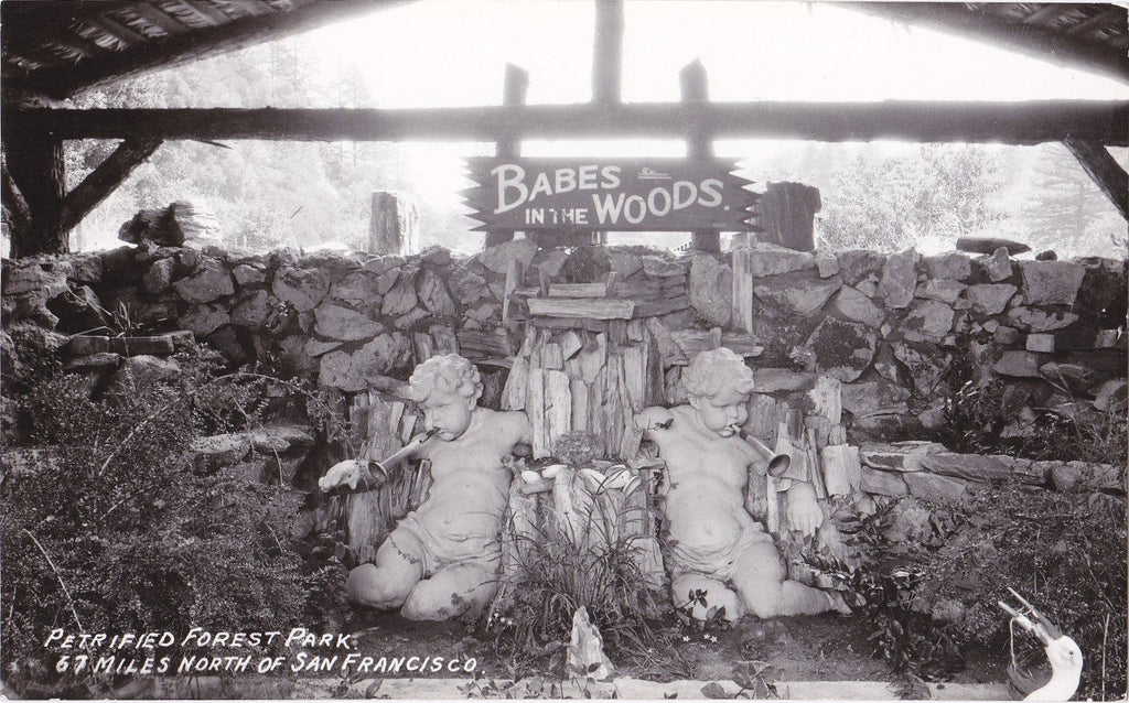 Babes in the Woods- 1950s Vintage Photograph- Petrified Forest Park- San Francisco, California- Garden Statue- RPPC- Real Photo Postcard