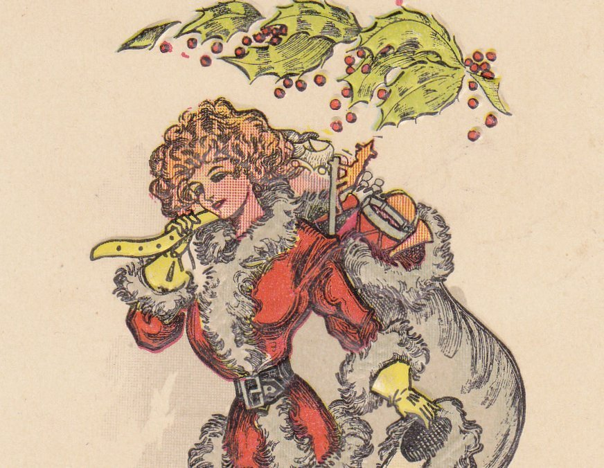 Lady Santa Claus- 1910s Antique Postcard- Edwardian Christmas Beauty- Mistletoe- Holiday Decor- Woman in Santa Costume- Unused