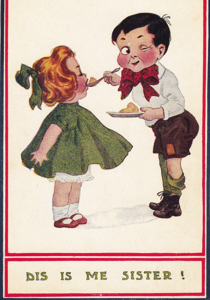 Dis Is Me Sister- 1900s Antique Postcard- Redheaded Stepchild- Edwardian Humor- Bernhardt Wall- Art Comic- T. P. & Co.- Unused